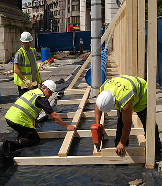 DPM (damp proof membrane) is being used as protection under the hoarding and also for trackway road protection