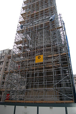 The scaffold wrap on the north elevation is ready to be unfurled and fixed to the scaffold
