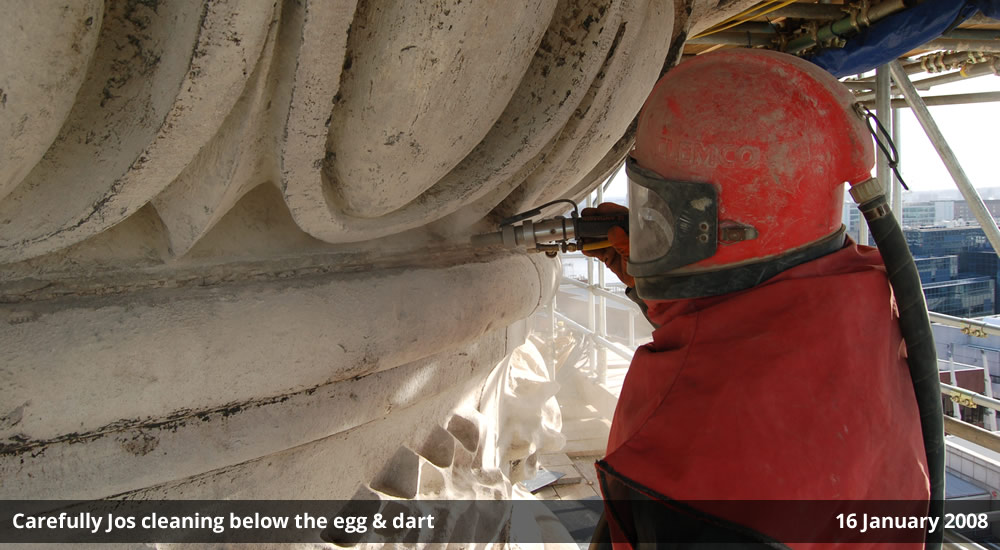 Carefully Jos cleaning below the egg & dart