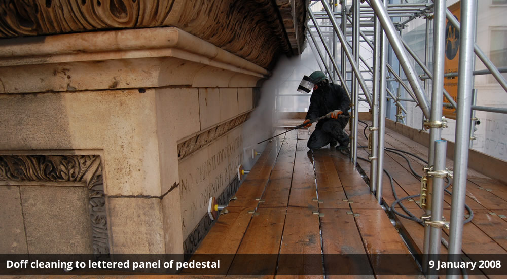 Doff cleaning to lettered panel of pedestal