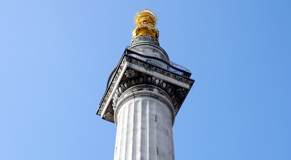 The Monument column and cage in the City of London