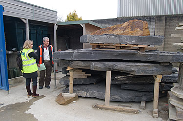 Architect Judy Allen and CWO's Adam Stone looking at some Pooil Vaaish stone