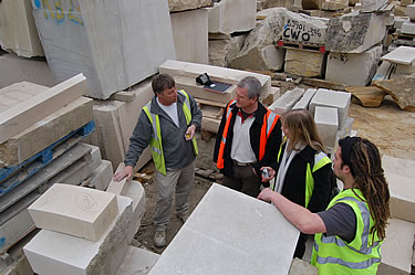 The team discussing the proposed stone to be used for the paterae. Portland (Jordan's Whitbed)