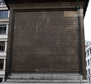 North Panel inscription on the Monument to the Great Fire of London