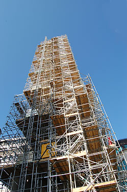 The scaffolding company, Allen and Foxworthy have erected 73,500ft of scaffolding tube, 24,500 scaffold fittings, 47,600 bolts tightened and 19,500 ft of scaffolding boards. Excavations and defrassing is carried out in the basement.