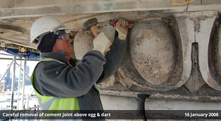 Careful removal of cement joint above egg & dart