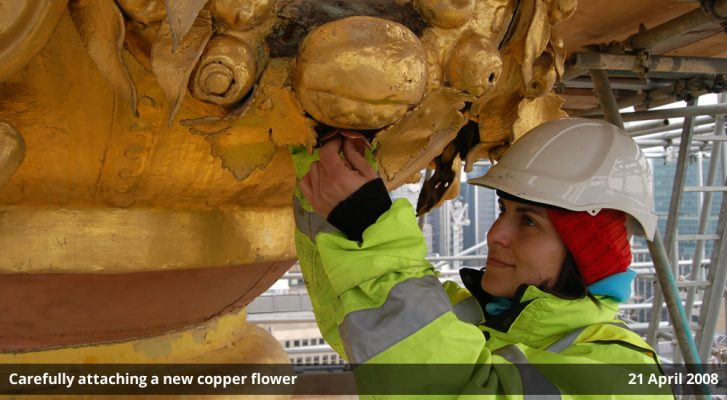 Carefully attaching a new copper flower - images by Harris Digital Productions